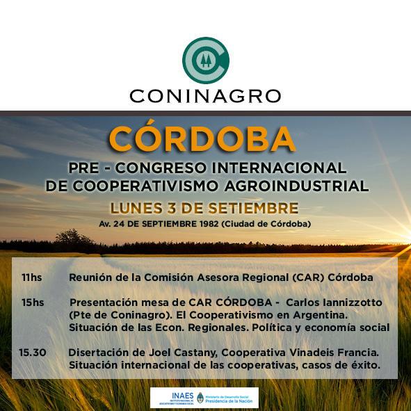 Joel Castagny visita Córdoba el próximo lunes 3 para anunciar el Congreso Internacional de Cooperativismo Agroindustrial